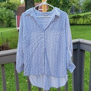 Jane and Delancey bicycle print button up size 1X